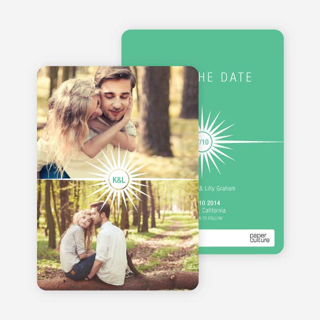 Burst of Joy Save the Date Cards - Green