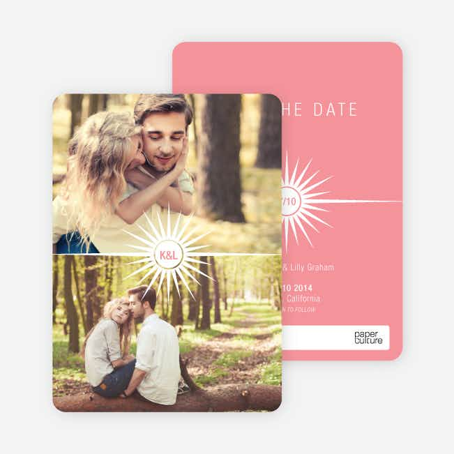 Burst of Joy Save the Date Cards - Pink