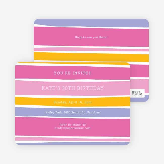 Color Stripe Party Invitations - Pink