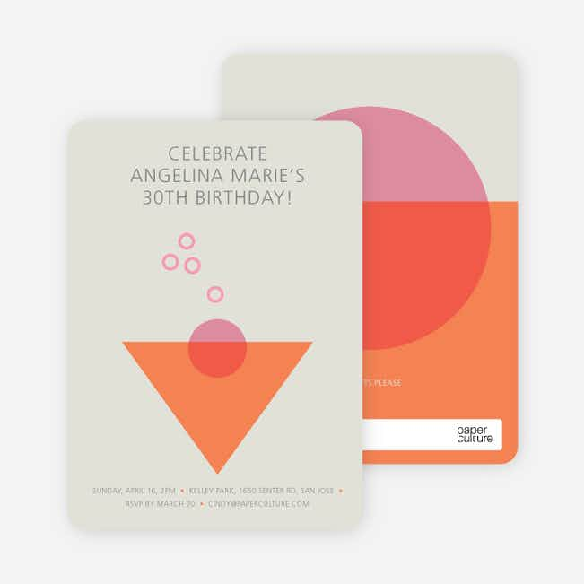 Cosmo Party Invitations - Orange
