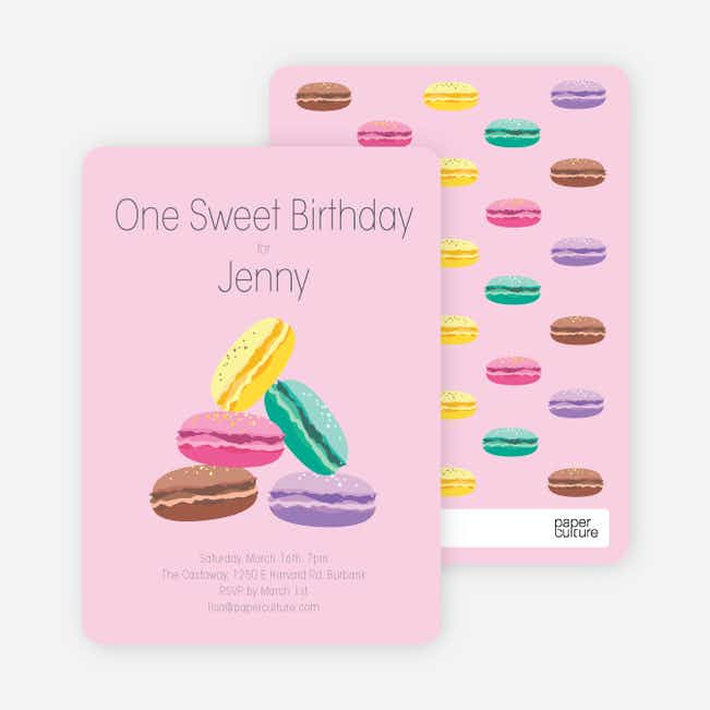Macaron Party Invitations - Pink