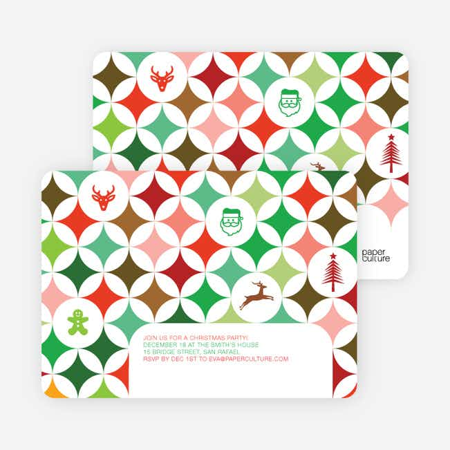 X-Mas Icon Holiday Party Invitations - Multi