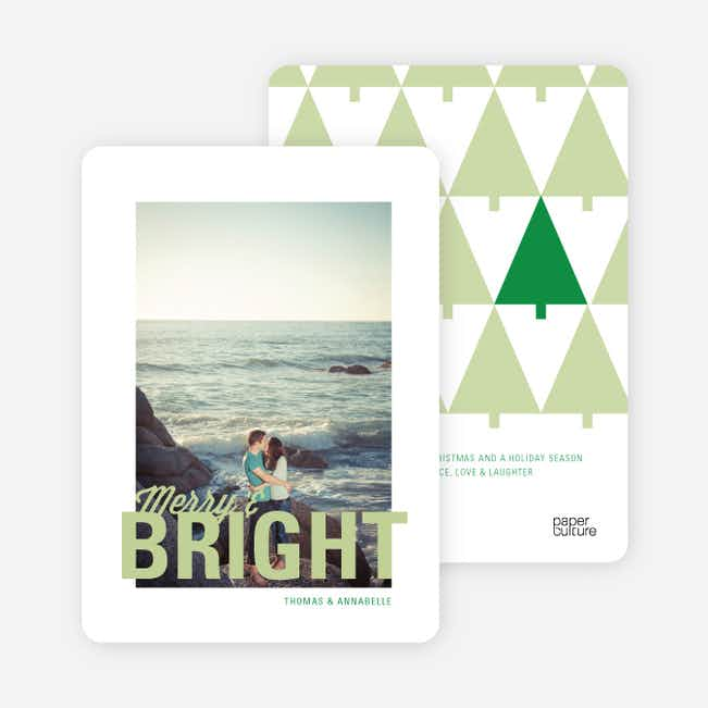 Merry & Bright Christmas Tree Cards - Green