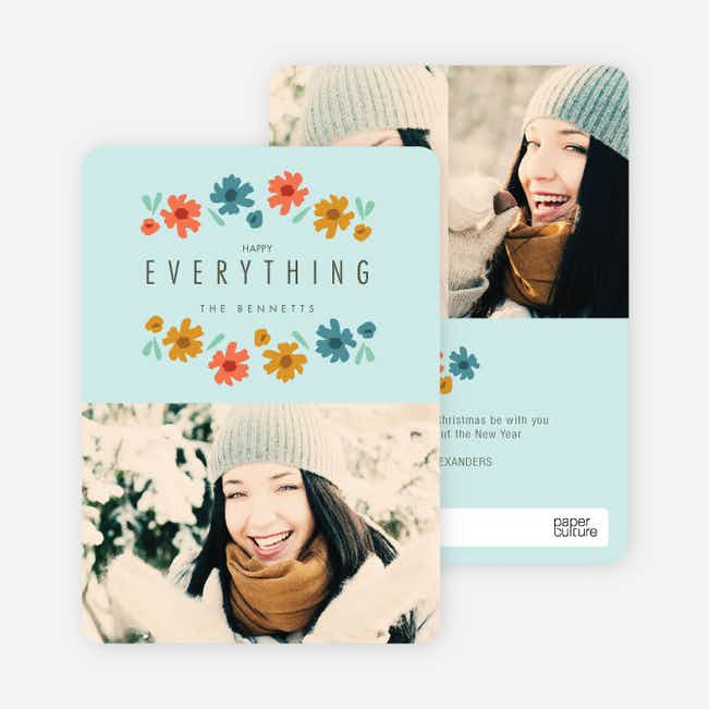 Everything's Coming up Roses Holiday Cards - Blue