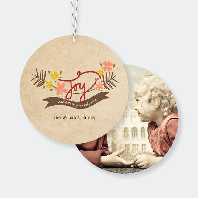 Joy and Love Christmas Ornaments - Red
