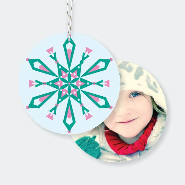 Modern Snowflake Ornaments - Green