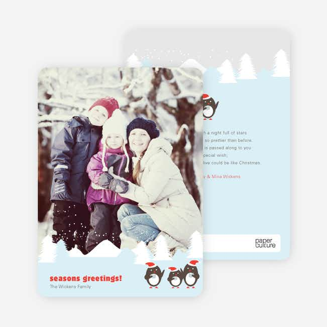 Party on Penguin Holiday Photo Cards - Black