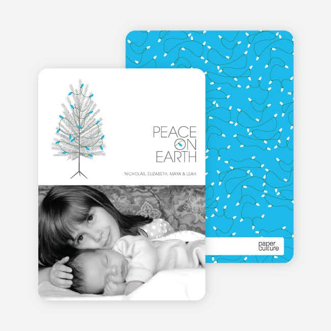 Peace on Earth Holiday Christmas Tree Cards - Royal Blue