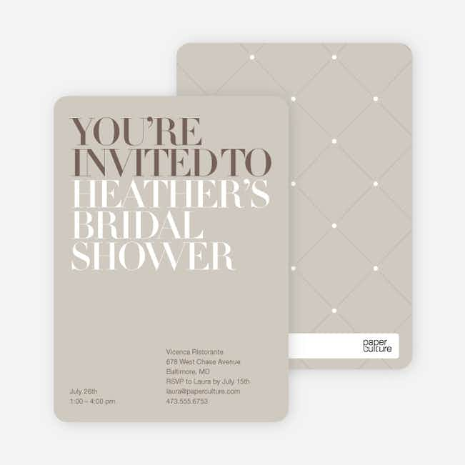 Bold Letters Bridal Shower Invitations - Sand