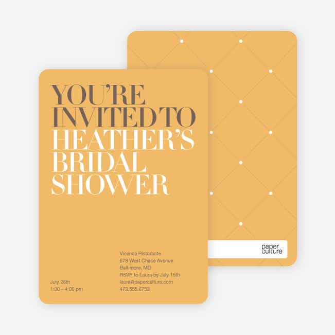 Bold Letters Bridal Shower Invitations - Apricot