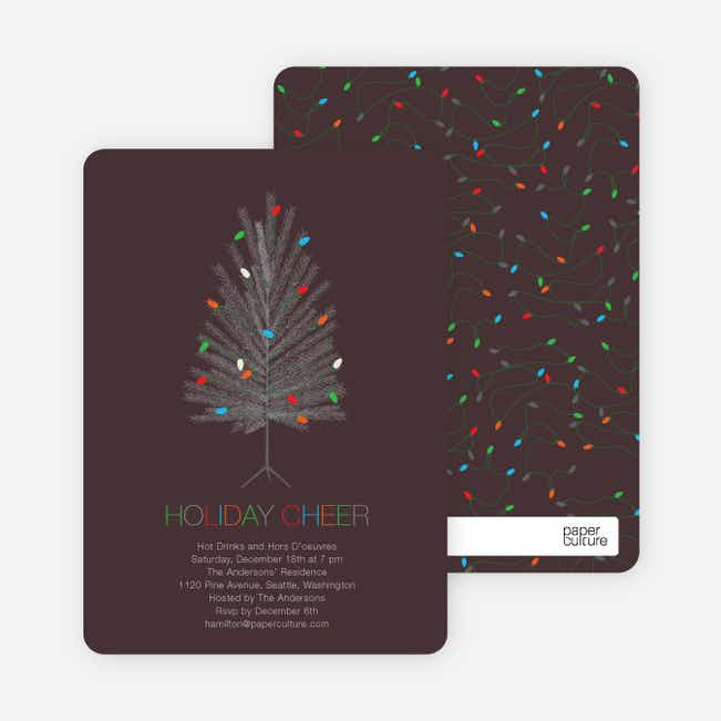 Colorful Christmas Tree Holiday Party Invitations - Walnut