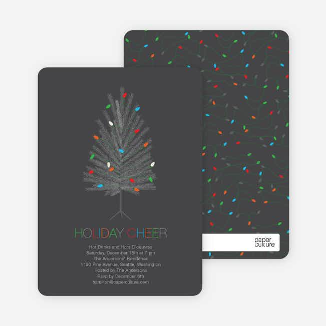 Colorful Christmas Tree Holiday Party Invitations - Slate