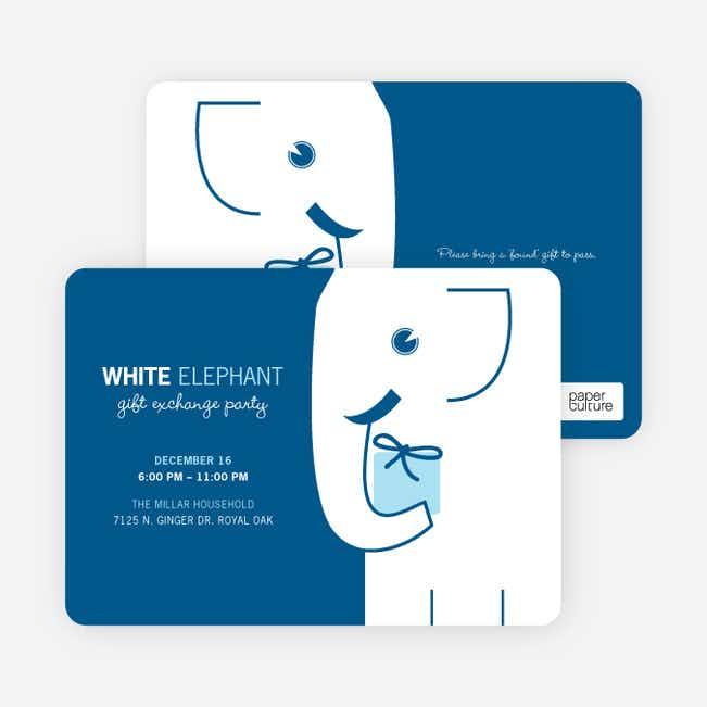 White Elephant on Tiny Prints for White Elephant Parties - Glacier
