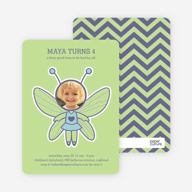 Butterfly Birthday Party Invitations with a Photo - Keylime