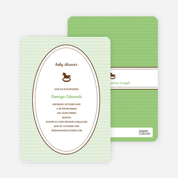 Classic Rocking Horse Baby Shower Invitation Paper Culture