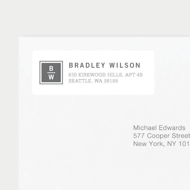 Classy Stacked Initial Return Address Labels - Gray