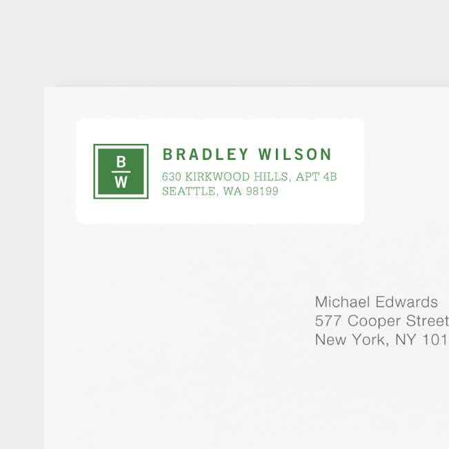Classy Stacked Initial Return Address Labels - Green