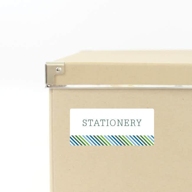 Diagonal Stripe Storage Labels - Green