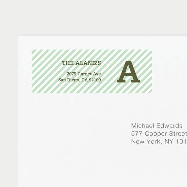 Diagonal Stripes Address Labels - Green