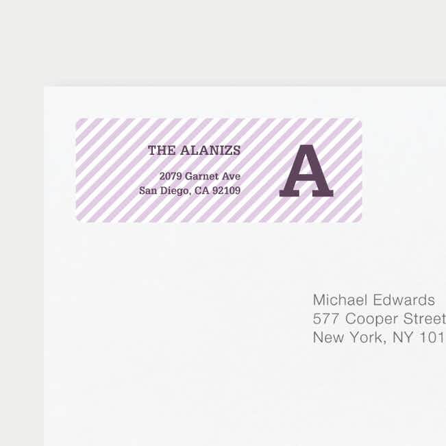 Diagonal Stripes Address Labels - Purple