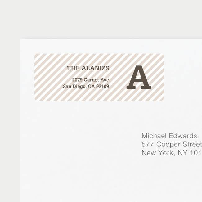 Diagonal Stripes Address Labels - Brown