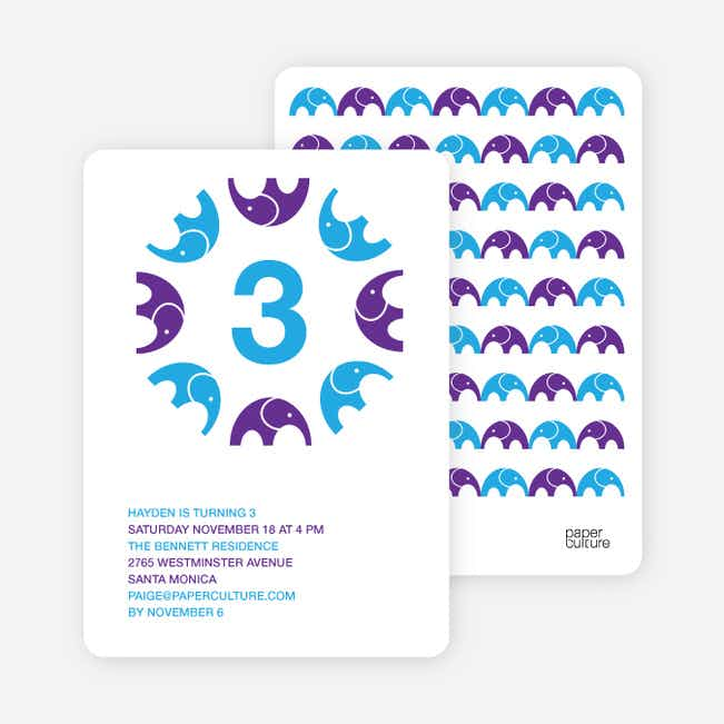 Elephant Kaleidoscope Modern Birthday Invitation - Bright Blue