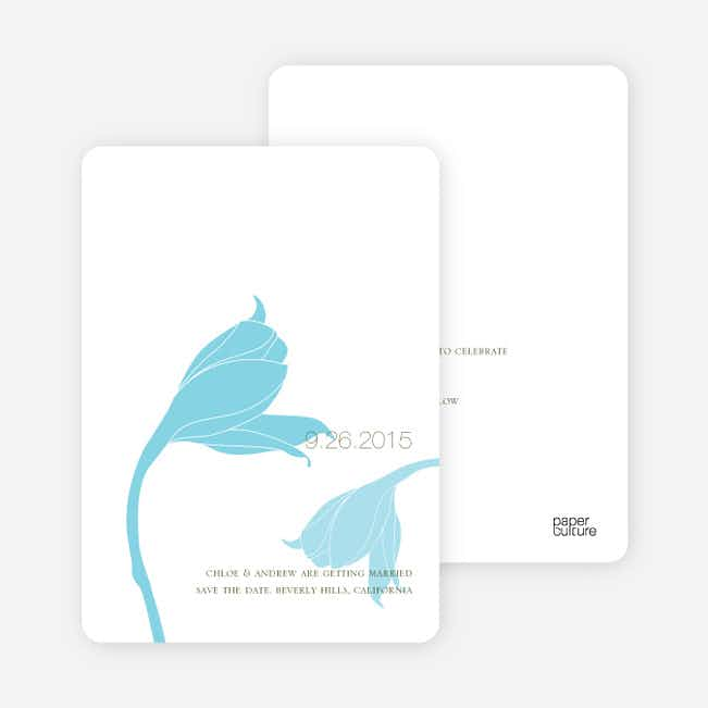 Floral Themed Modern Save the Date Cards - Pale Aqua