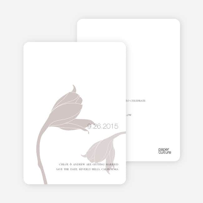 Floral Themed Modern Save the Date Cards - Ash