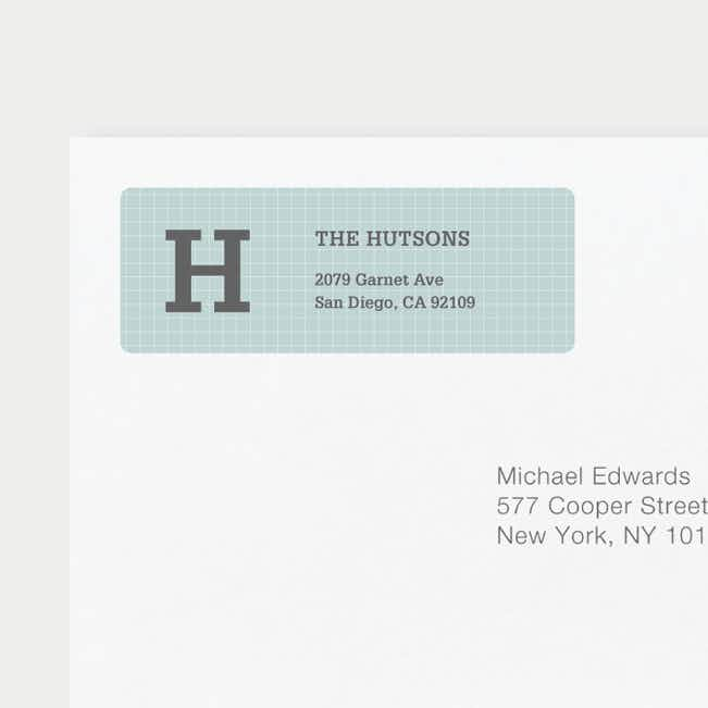 Grid Pattern Custom Return Address Labels - Gray