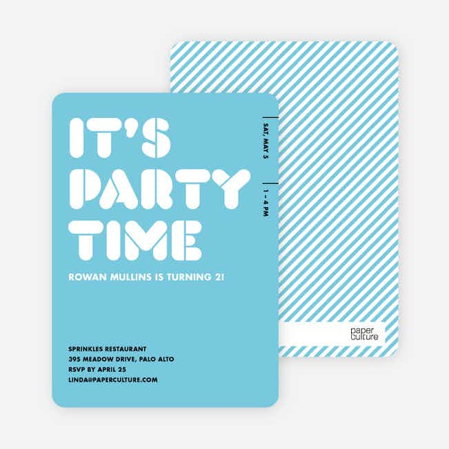 It's Party Time Invitation - Baby Blue