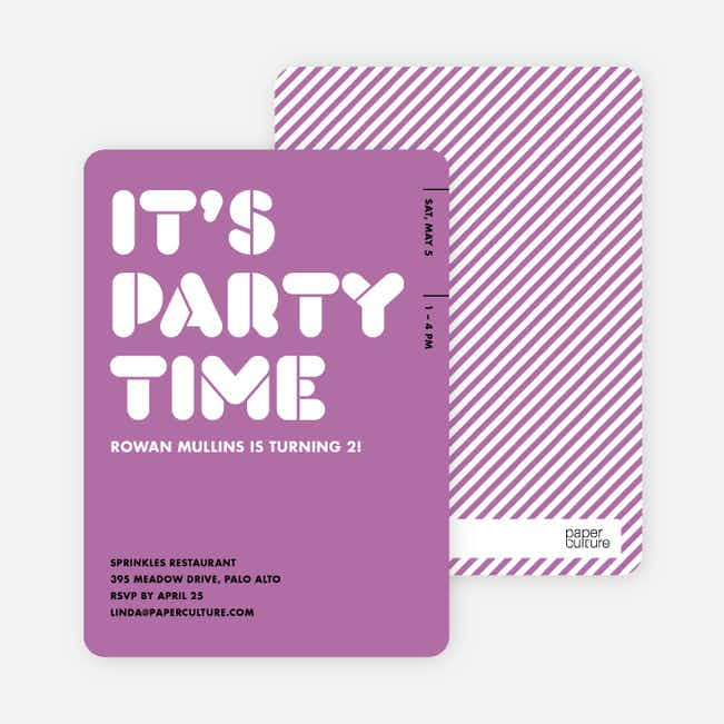 It's Party Time Invitation - Lavender