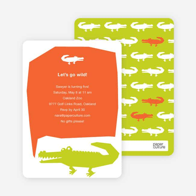 Later Alligator Modern Birthday Invitation - Light Green