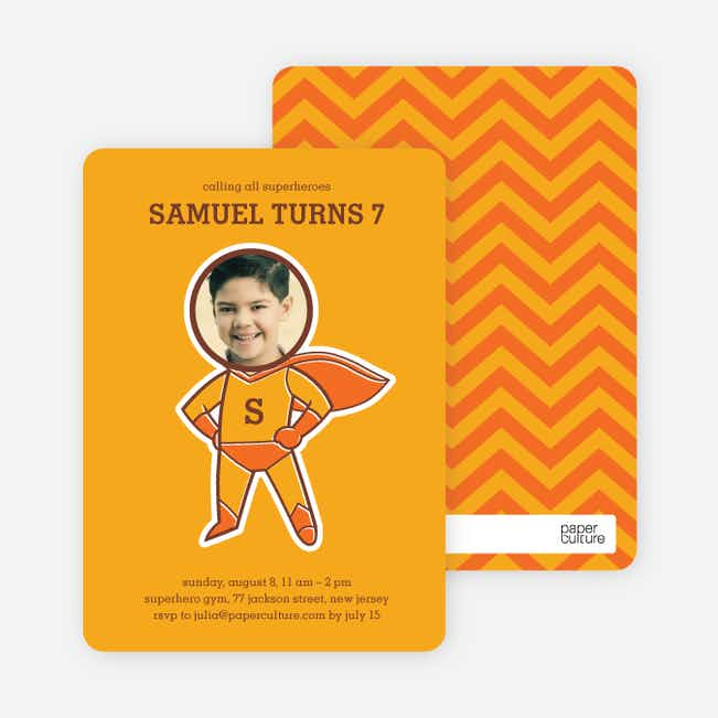 Righteous Hero Birthday Invitations - Mango
