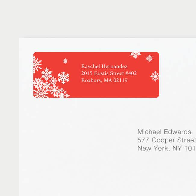 Snowflake Cheers Personalized Address Labels - Red