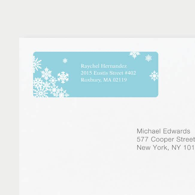 Snowflake Cheers Personalized Address Labels - Blue