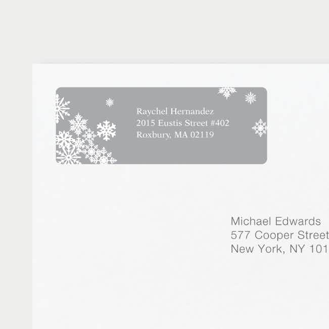 Snowflake Cheers Personalized Address Labels - Gray