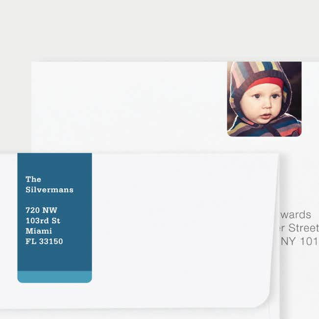 Vertical Photo Wrap Custom Address Labels - Blue