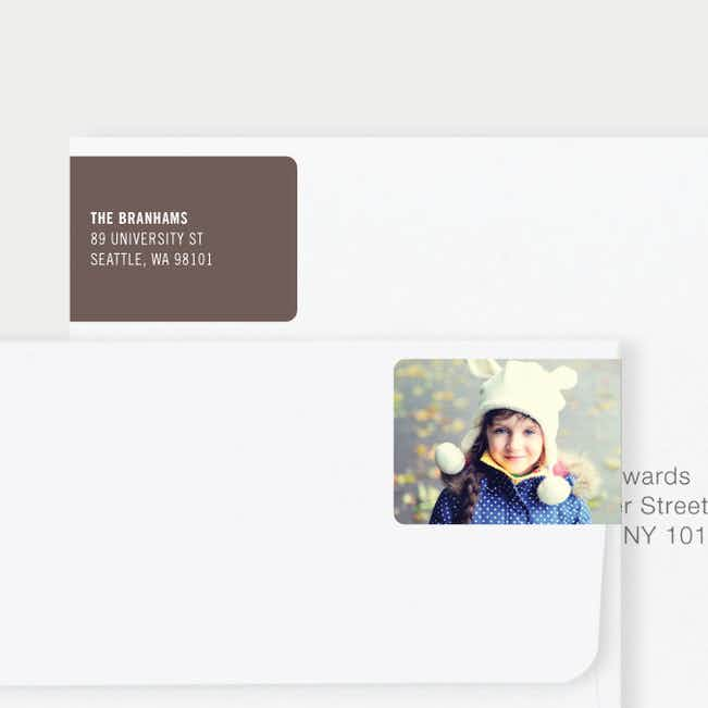 Photo Wrap Behind Return Address Labels - Brown