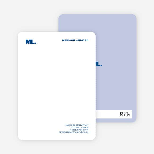 Business Stationery: Personal Monogram or Company Logo - Blueberry