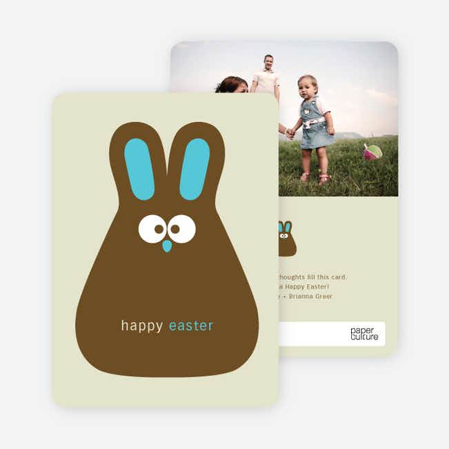 Chocolate Bunny Easter Photo Cards - Blue Wave