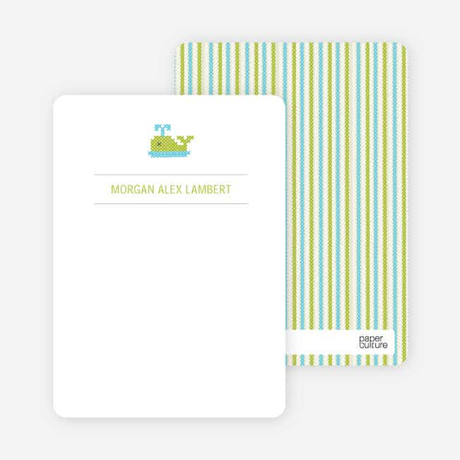 Note Cards: 'Quilted Whale' cards. - Pale Green