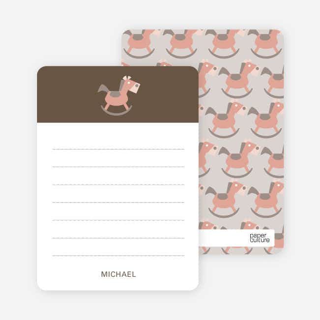 Note Cards: 'Rocking Horse Baby Announcement' cards. - Burly Wood