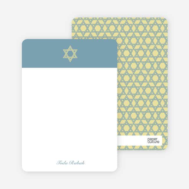Note Cards: 'Simple Star of David' cards. - Periwinkle