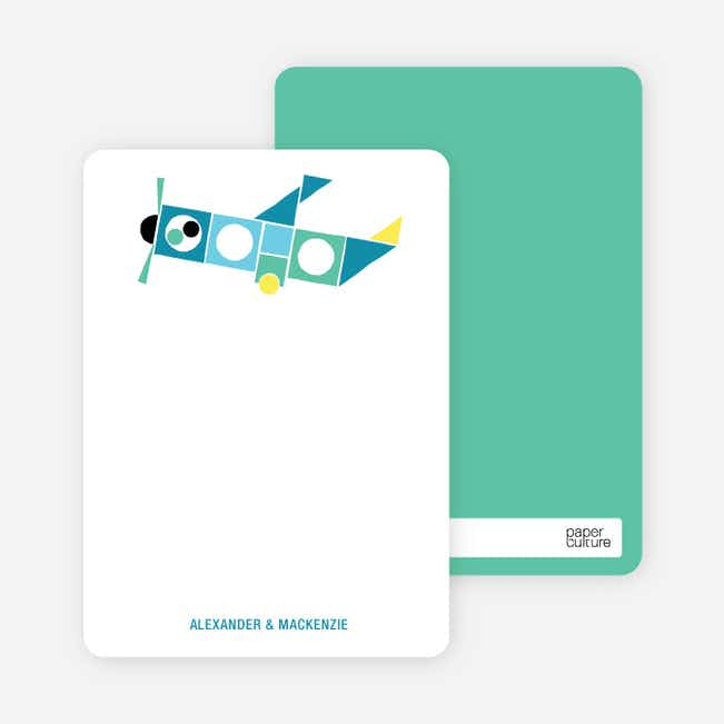 Notecards for the 'Airplane Announcement' cards. - Aqua