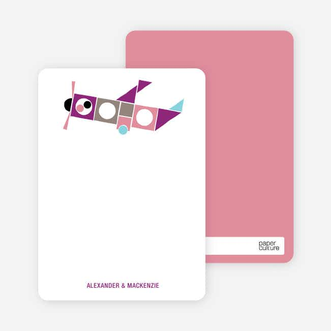Notecards for the 'Airplane Announcement' cards. - Plum