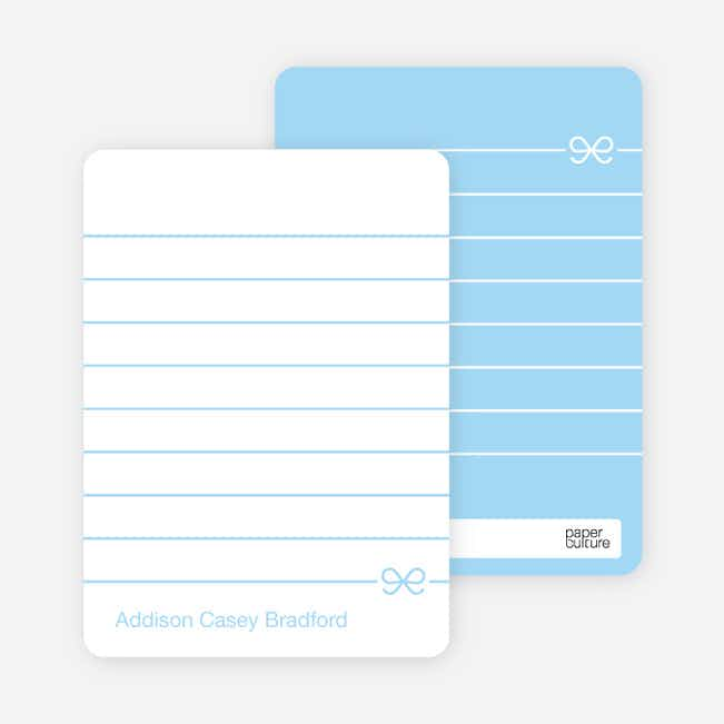 Notecards for the 'Blue Bow' cards. - Baby Blue