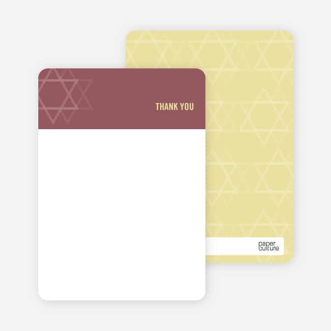 Notecards for the 'Intertwined Stars of David' cards. - Sangria