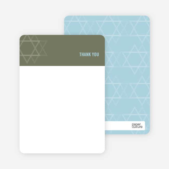 Notecards for the 'Intertwined Stars of David' cards. - Olive