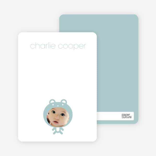 Personal Stationery for Baby in Cuddly Bear Outfit Baby Announcement - Dusty Blue