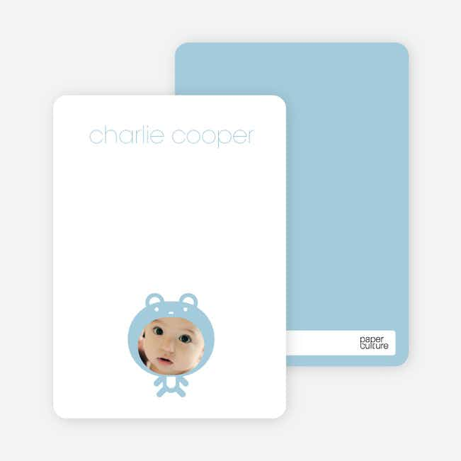 Personal Stationery for Baby in Cuddly Bear Outfit Baby Announcement - Baby Blue